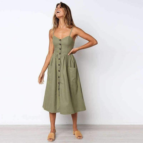 White Island 2018 New Fashion Sleeveless Backless Sexy Summer Dress Women Pure Color Single Button Off Shoulder Dress D004