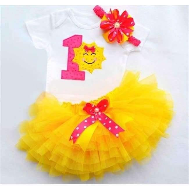 3678d6769f715 Newborn Flower Party Clothes Set Baby Girl One Years First Birthday Tutu  Outfits for Girls Tulle Toddler Baby Clothing Suit