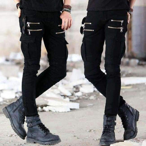 Image of Planet Gates AS PICTURE BLACK / S Green Black Denim Biker jeans Mens Skinny 2015 Runway Distressed slim elastic jeans hiphop Washed