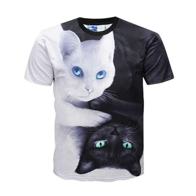 Planet Gates as picture show / 12 Summer Boys Girls 3D T shirt Lovely White Black Cat Yin Yang Harajuku Design Children T-shirt Kids Cool Tshirt Tops