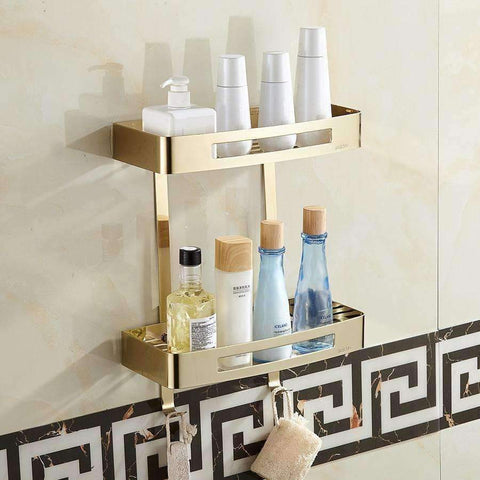 Planet Gates Bathroom Shelves Stainless Steel Shower Double Layers Storage Golden Shelf Brushed Modern Bathroom Rack Accessories
