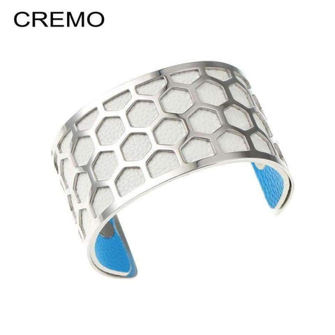 Planet Gates BC0043701 Cremo Stainless Steel Bracelets & Bangles Fishnet Femme Opening Cuff Bracelets Argent 40mm Interchangeable Leather Pulseiras