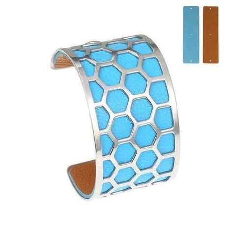 Planet Gates BC0043702 Cremo Stainless Steel Bracelets & Bangles Fishnet Femme Opening Cuff Bracelets Argent 40mm Interchangeable Leather Pulseiras