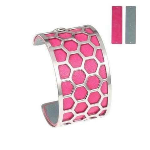 Planet Gates BC0043703 Cremo Stainless Steel Bracelets & Bangles Fishnet Femme Opening Cuff Bracelets Argent 40mm Interchangeable Leather Pulseiras