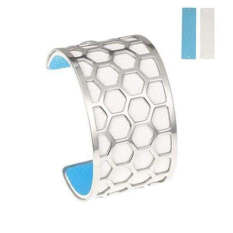 Planet Gates BC0043704 Cremo Stainless Steel Bracelets & Bangles Fishnet Femme Opening Cuff Bracelets Argent 40mm Interchangeable Leather Pulseiras