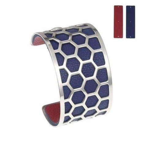 Planet Gates BC0043707 Cremo Stainless Steel Bracelets & Bangles Fishnet Femme Opening Cuff Bracelets Argent 40mm Interchangeable Leather Pulseiras