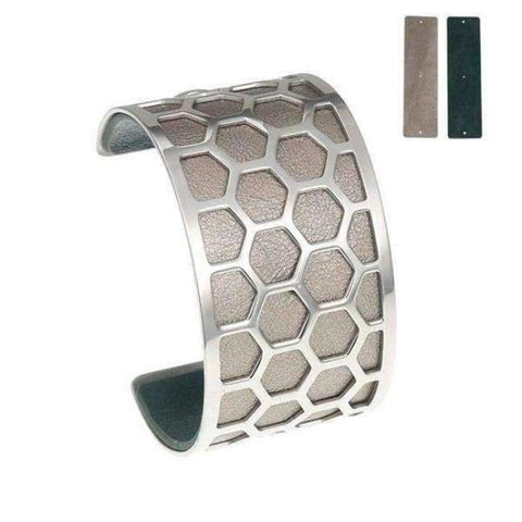 Planet Gates BC0043708 Cremo Stainless Steel Bracelets & Bangles Fishnet Femme Opening Cuff Bracelets Argent 40mm Interchangeable Leather Pulseiras