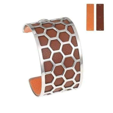 Planet Gates BC0043709 Cremo Stainless Steel Bracelets & Bangles Fishnet Femme Opening Cuff Bracelets Argent 40mm Interchangeable Leather Pulseiras