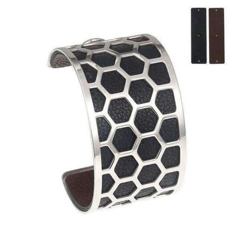 Planet Gates BC0043710 Cremo Stainless Steel Bracelets & Bangles Fishnet Femme Opening Cuff Bracelets Argent 40mm Interchangeable Leather Pulseiras