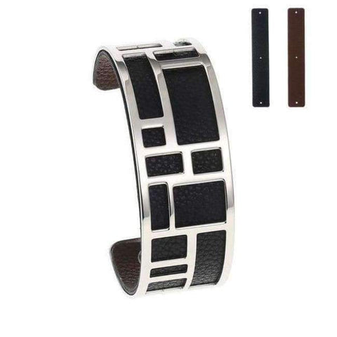 Image of Planet Gates BC0071710 Cremo Love Bracelets & Bangles Stainless Steel Bracelet Bijoux Femme Manchette Reversible Leather Cuff Pulseiras