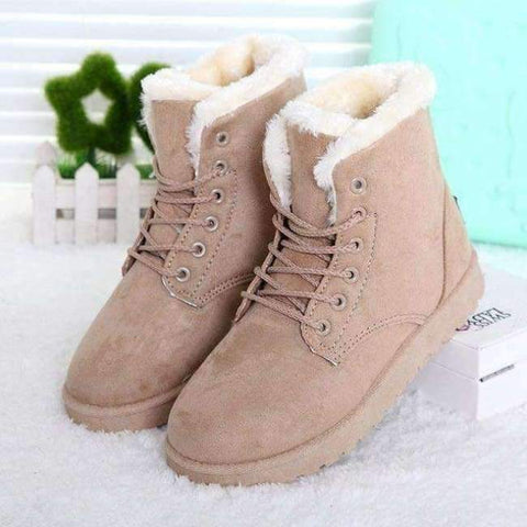 Image of Planet Gates Beige / 11 Fashion warm snow boots 2018 heels winter boots new arrival women ankle boots women shoes warm fur plush Insole shoes woman