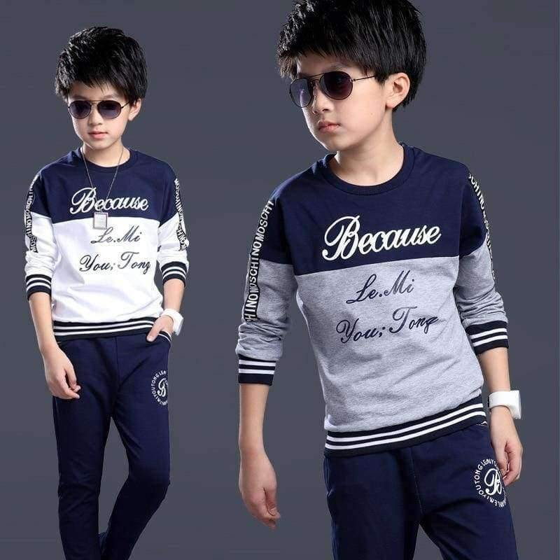 Planet Gates Beige / 6 Spring autumn teenage boys clothing sets sport casual suit kids clothing fashion Tops + Pants 2pcs children tracksuit 4-14Y