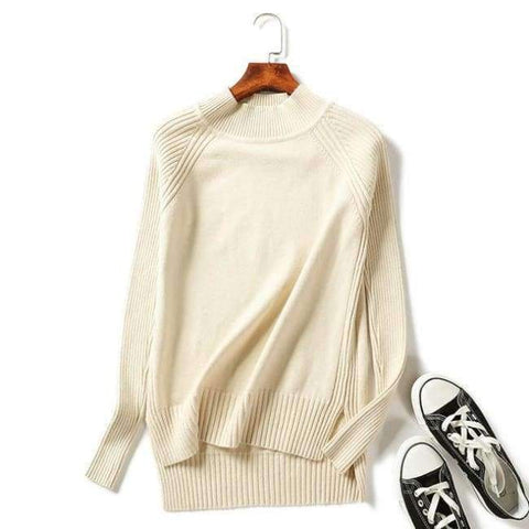 Planet Gates Beige / One Size Women turtleneck sweaters knitted pullovers long sleeves basic irregular tricots autumn winter wool tops warm loose All Match