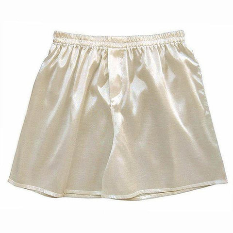 Planet Gates Beige / S Satin Men Sleep Boxer Bottoms Pajama Lounge Shorts Sleepwear Solid Underwear Homewear Shorts Men S-5XL