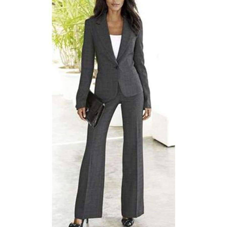 Custom Womens Business Suits 2 Pieces Jacket Pants Set Ladies Office ... a62cd2adc0