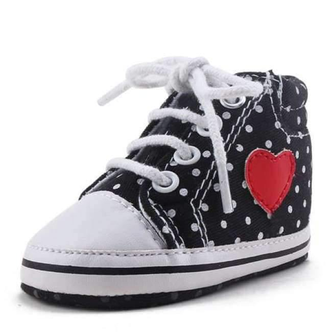 Planet Gates Black / 1 Pink Polka Dot Cotton Soft Sole Baby Shoes Lace-up Spring/Autumn First Walkers Newborn Infant Toddler Crib Girl Shoes Wholesale