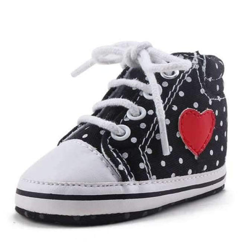 Image of Planet Gates Black / 1 Pink Polka Dot Cotton Soft Sole Baby Shoes Lace-up Spring/Autumn First Walkers Newborn Infant Toddler Crib Girl Shoes Wholesale