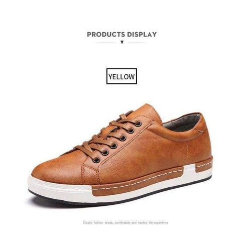 4c86120d31fb BIMUDUIYU Autumn New Casual Shoes Mens Leather Flats Lace-Up Shoes Simple  Stylish Male Shoes Large Sizes Oxford Shoes For Men