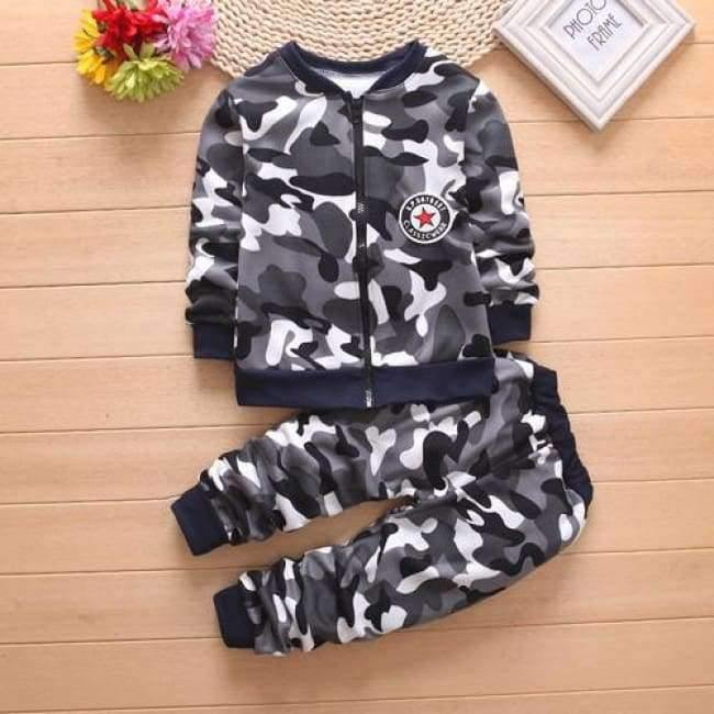 Planet Gates Black / 2T Children Boys Winter Warm Woolen Outerwear Jack Coat Pants Girls Clothing Set Baby Kids Hoody Trousers Camouflage Tracksuit