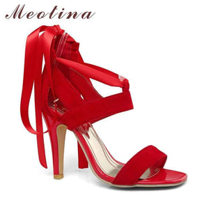 Meotina Women Shoes Sandals 2018 Summer Cross Tied Mataas na Heel Sandals manlalaban Babae Sexy Party takong Blue Red Malaking Sukat 44 45