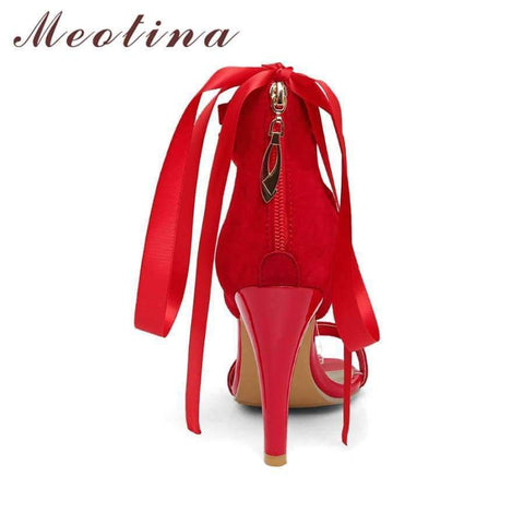 Image of Planet Gates Black / 4 Meotina Women Shoes Sandals 2018 Summer Cross Tied High Heel Sandals Gladiator Women Sexy Party Heels Blue Red Large Size 44 45
