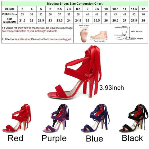 Planet Gates Black / 4 Meotina Women Shoes Sandals 2018 Summer Cross nakatali Mataas na Heel Sandalyas Gladiator Babae Sexy Party takong Blue Red Malaking Sukat 44 45