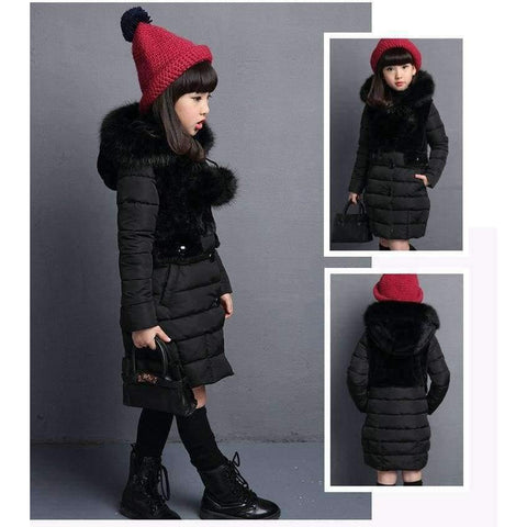 Image of Planet Gates Black / 4 Winter Big Girls Warm Thick Jacket Outwear Clothes Cotton Padded Kids Teenage Coat Children Faux Fur Hooded Parkas P28