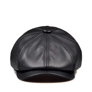 Unisex Winter Pumpkin Black Genuine Leather Hat Women Men Fitted Korean Cowboy Casquette