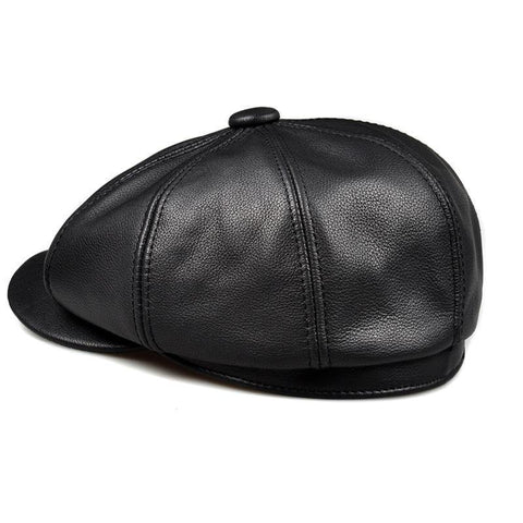 Image of Planet Gates black / 55 56 CM Unisex Winter Pumpkin Black Genuine Leather Hat Women Men Fitted Korean Cowboy Casquette