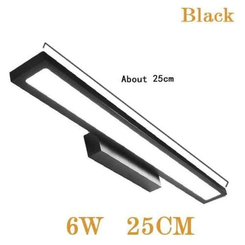 Planet Gates Black 6W 25CM / Cold White LED Wall Lamp Minimalism Mirror Front Light Bathroom makeup Wall Lights Modern aluminum wall mounted sconces lighting fixture