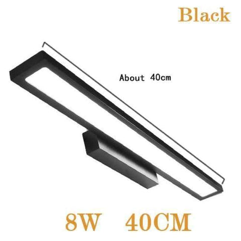 Planet Gates Black 8W 40CM / Cold White LED Wall Lamp Minimalism Mirror Front Light Bathroom makeup Wall Lights Modern aluminum wall mounted sconces lighting fixture
