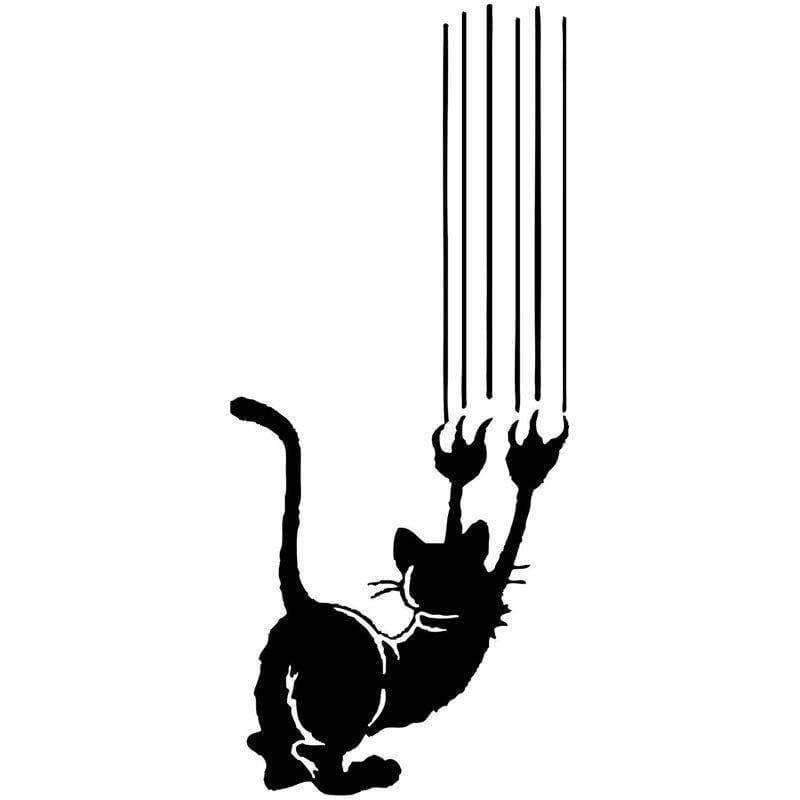 Planet Gates Black Angry Cat Claw Vinyl Decal Reflective Car Stickers Car Styling Bumper Accessories Motorcycle Exterior JDM