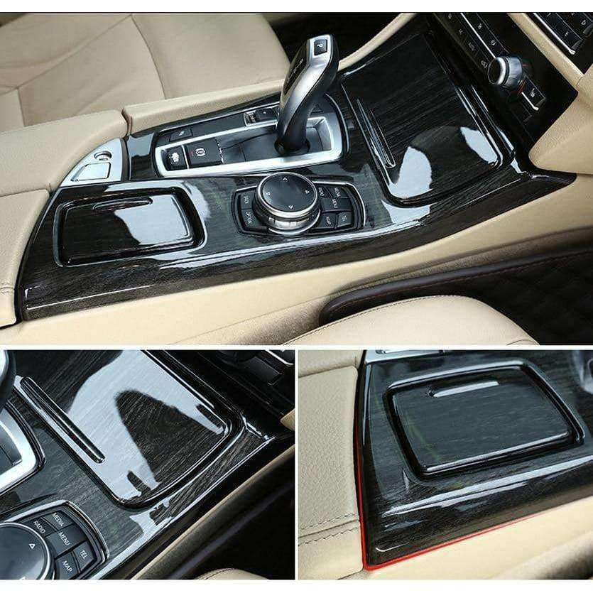 Planet Gates Black Ash Wood For BMW 5 Series F10 2011-2017 520li 525li 530li ABS Center Console Gear Shift Panel Cover Trim Car Accessories