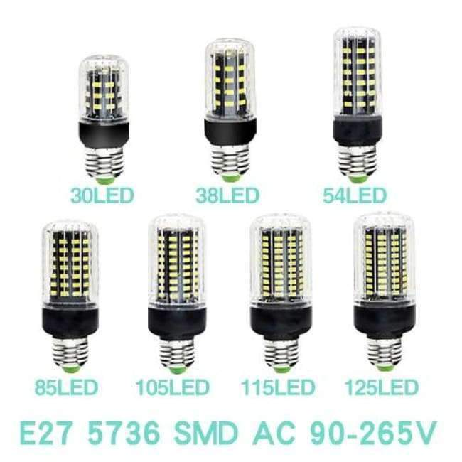 Planet Gates Black Bulb E27 / 33LEDs / Cold White LED Light E27 Lamp E14 LED Bulb Corn 20 30 46 81 100 LEDs Lampada SMD5730 220V Corn Bulb Chandelier Candle Spotlight Home Decor