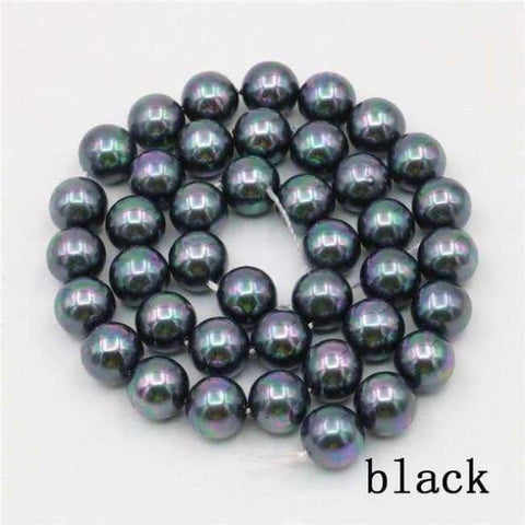 Planet Gates black Charming 10mm Natural Mixed Color Black Shell Pearl Beads DIY Accessories Gift Manual Make Jewelry Wholesale Price AAA+ 16inch