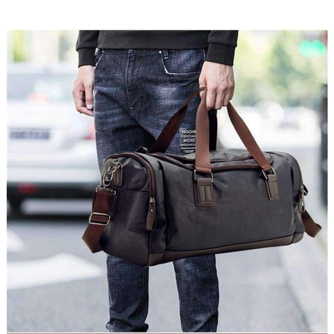 Planet Gates Black Color PU Leather Men's Sports Bags Gym Bags Classic Sports HandBag Fitness Travel Bags Workout Shoulder Bag SB0029