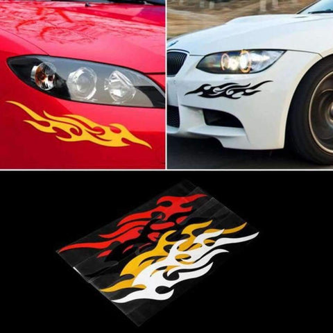 Image of Planet Gates Black Dewtreetali Universal Car Styling Sticker Engine Hood Motorcycle Decal Decor Mural Vinyl Covers Accessories Auto Flame