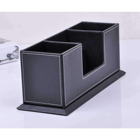 Planet Gates black Double-side wooden PU leather desk pen pencils box case mobile card organizer stationery accessories organizer storage rack 202A