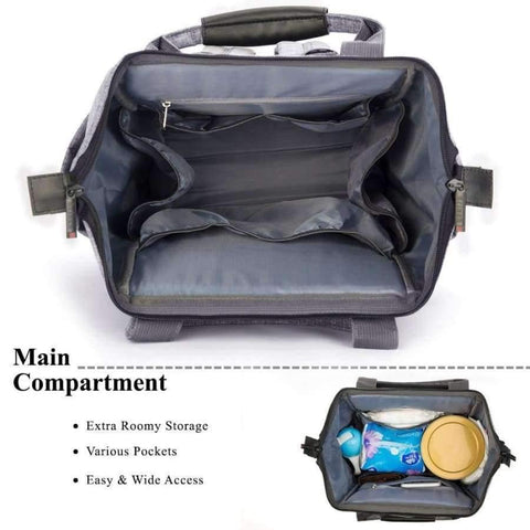 Image of Planet Gates Black Fashion Diaper Bag Baby Bag Waterproof Lightweight Multifunctional Mom Backpack Maternity Bag for Baby Care