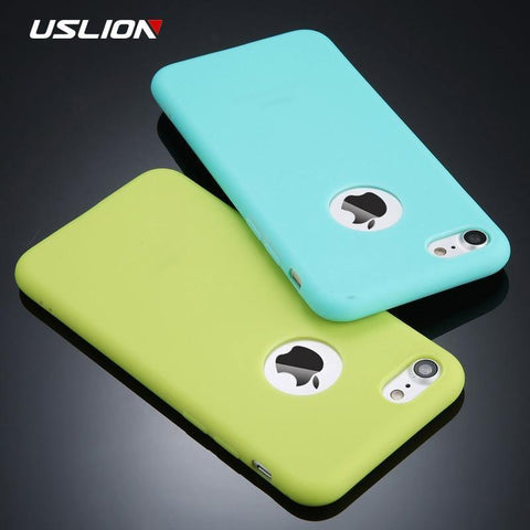 Beeld van USLION Candy Color Phone Case vir iPhone 7 Plus XS XR XS Max Sagte Silikon TPU Terug Cover Cases vir iPhone X 7 6 6S Plus 5 5S SE