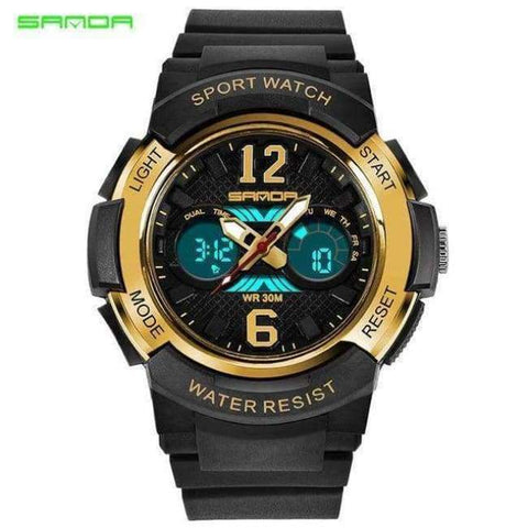Planet Gates black-gold Children's Watches LED Digital Watches Boys and Girls Students Multifunctional Waterproof Electronic Watch Relogio Masculino
