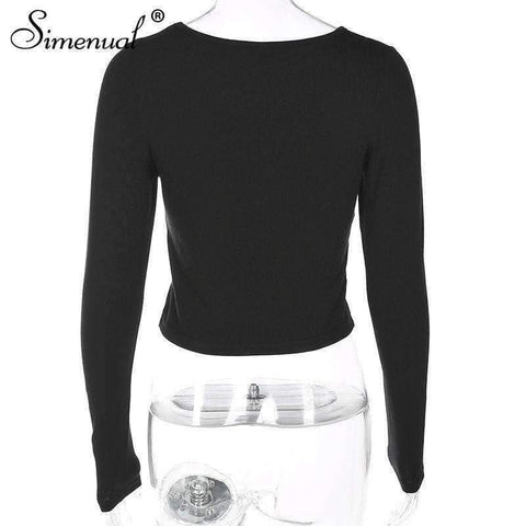 Image of Planet Gates black / L Autumn crop top long sleeve female t-shirt cotton slim sexy black fashion women's t-shirts 2018 soild basic tops tees