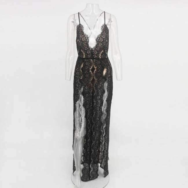 ef9d406352 Sleeveless Women Summer Lace Beach Dress Swimwear Women Halter Maxi ...
