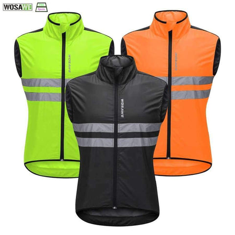 Image of Planet Gates Black / L WOSAWE High Visibility Cycling Vest Safety Reflective Vest Night Riding Protect Jacket Pocket Breathable Motorcycle Bicycle Vest