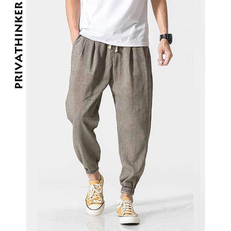 Mfasica Mens Haren Pants Chinese Style Casual Beach Classic Casual-Pants with Pockets