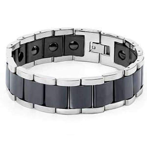 New Men Bracelet Energy Health Magnetic Bracelets For Man Blue Black Ceramic Stainless Steel Bracelet & Bangles Charm Jewelry