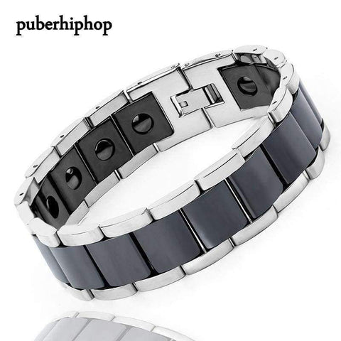 Image of Planet Gates Black New Men Bracelet Energy Health Magnetic Bracelets For Man Blue Black Ceramic Stainless Steel Bracelet & Bangles Charm Jewelry