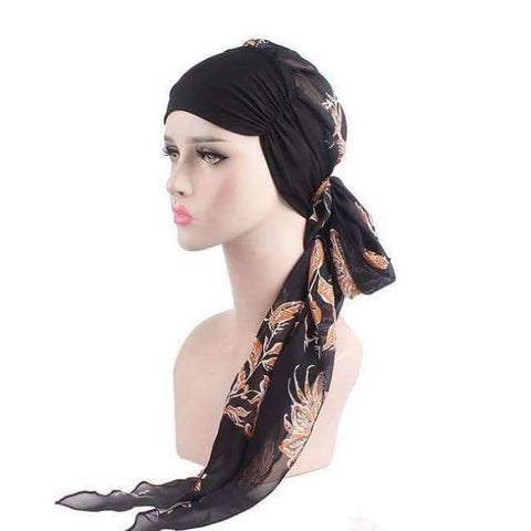 Image of Planet Gates Black Orange Haimeikang 2018 New Women Chemo Cap Turban Long Hair Band Scarf Head Wraps Hat Boho Pre-Tied Bandana Hair Accessories for Women