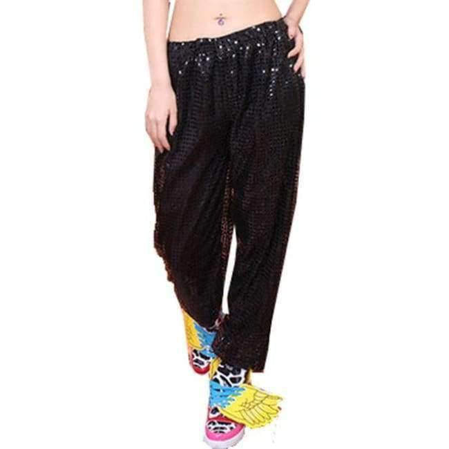 Planet Gates Black pants / S Adult Jazz Hiphop Modern Dance Wear Paillette Stage Performance Clothing woman sequins Cheerleading dance costuems