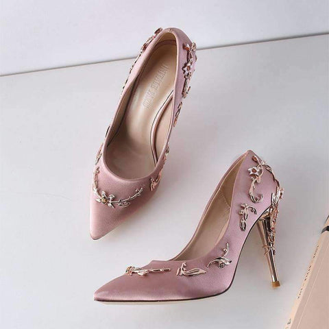 Image of Planet Gates Black Pumps / 3.5 Baimier 2018 Luxury Brand Women Pumps Flower Heel Wedding Shoes Women Elegant Silk High Heels Women Shoes Plus Size 40 41 42